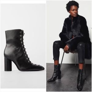 NWT ZARA LACE UP LEATHER HIGH HEEL ANKLE BOOTS IN BLACK